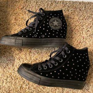 Converse black velvet hidden heel size 7